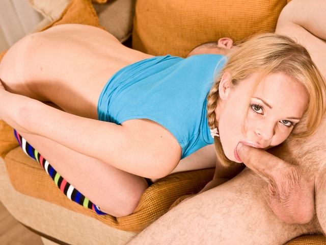 Pretty blonde with small tits enjoys fucks lustfully.