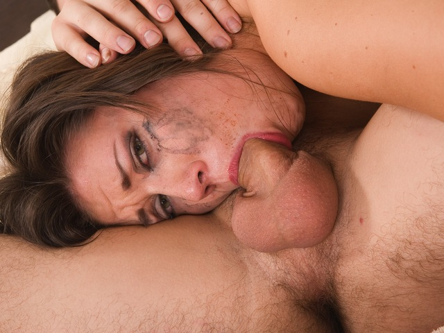 Enormous dick inside of a sexy bitch's mouth