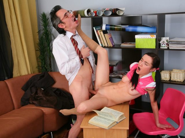 Patty is taught how to fuck by her aged teacher.