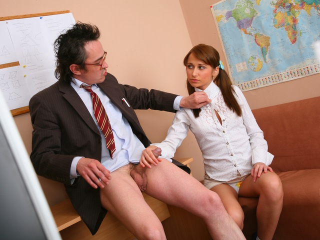Old teacher is staring at Valya's pussy hidden under the panties.