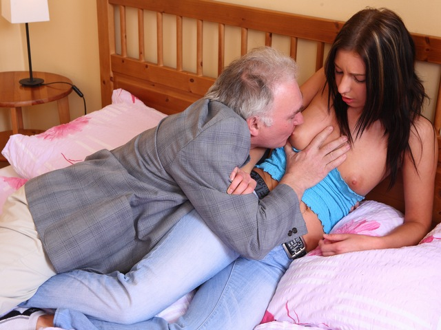 Zarina gets her little boobs cum soaked tangled both her boyfriend and the older guy