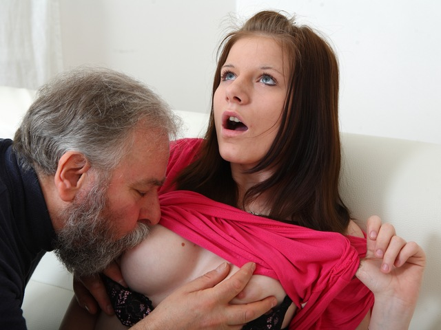 Maria lets gay man old guy fuck her shirtlifterd then gets her boyfriend to join in with the action