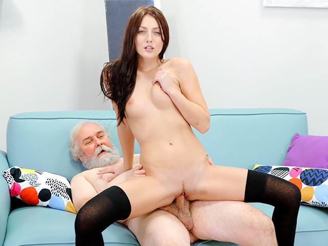 Talented cutie rides old dick
